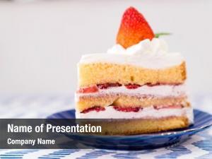 Cake slice strawberry top fresh
