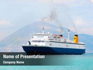 Ferry big blue boat sea