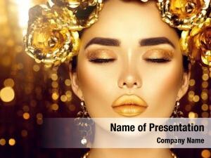 Holiday gold woman makeup
