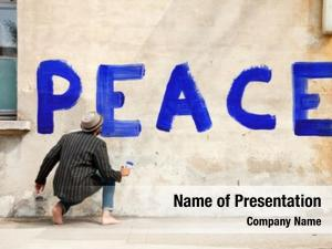 Wall man writes peace world