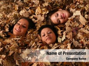 Cover nice girls autumn leaves