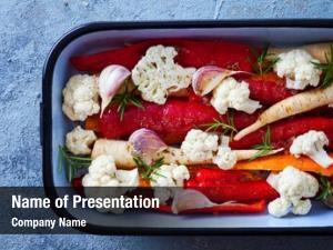 Ready fresh vegetables roasted fruits