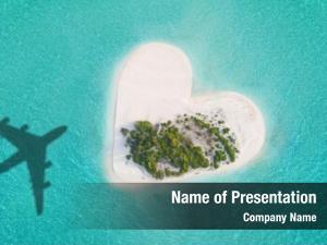 Tropical aerial view island heart