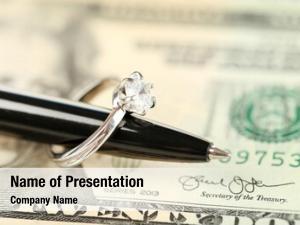 Pen, wedding ring banknotes