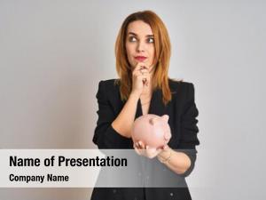 Business redhead caucasian woman holding