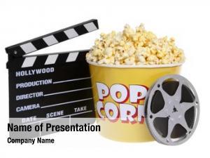 Film cinema concept: reel, popcorn,