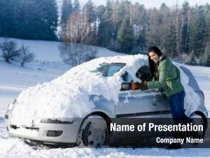 Woman winter car remove snow
