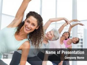 Trainer happy female class stretching