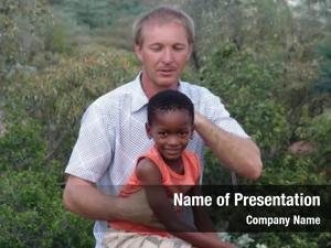 Posing caucasian man african bush