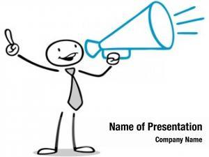 Megaphone business man making announcement