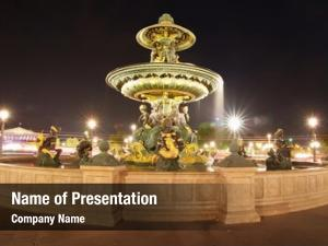 Famous night scene parisian fountains