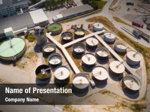 Sewage aerial view treatment plant