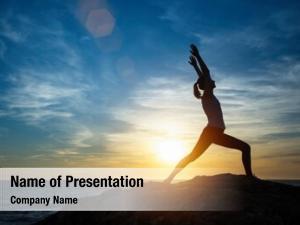 Doing happy woman yoga exercises,