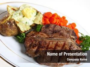 Porterhouse dinner t bone steak, served