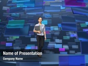 Broadcasting woman virtual studio,