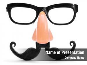Nose closeup fake glasses, mustache