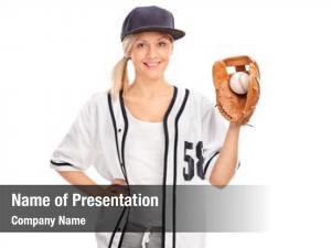 Female studio shot baseball player
