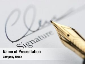 Signature gold pen document