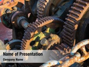 Old aged technology: rusty gearwheel