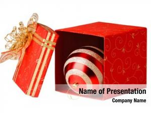 Christmas gift box baubles white