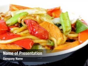 Vegetables, stir fried noodles black bowl