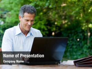 Working satisfied businessman laptop internet