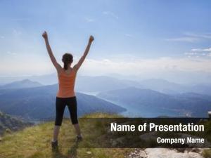 Standing joyful girl mountain top