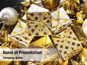 Christmas decorated golden gifts box
