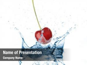 Into cherry dropped water splash