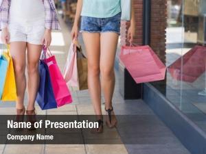 Women close two walking shopping
