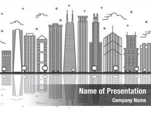 Illinois outline chicago city skyline