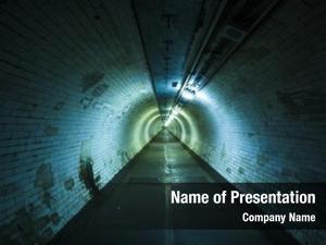 Night empty tunnel light end