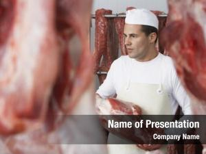 Slab butcher holding meat meat