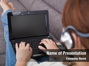 Home young woman laptop speaking