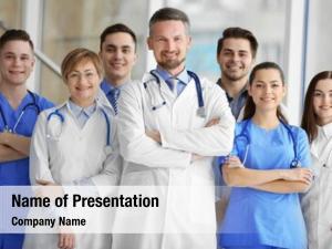 Nurses group doctors standing hospital