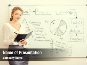 Making business woman presentation office