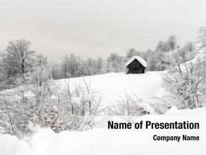 Landscape minimalistic winter wooden house