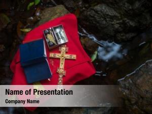 Orthodox holy bible cross during