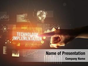 Technology hand touching implementation inscription,