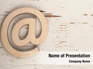 Wooden email symbol concept internet,