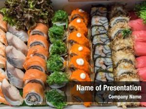 Buffet sushi arrange line