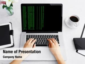 Laptop, woman using writing programming