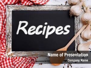 Chalkboard, recipes written close up