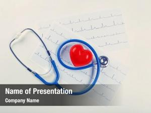 Red stethoscope, cardiogram heart table
