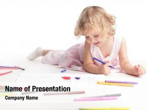 Drawing little girl family