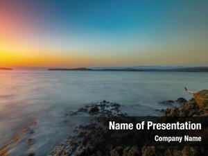 During rocks sea sunset mediterranean