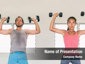 Couple fitness gym training arms
