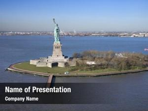 Liberty aerial view island statue