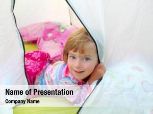 Tent girl camping lying happy
