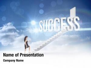 Businesswoman word success stepping leading